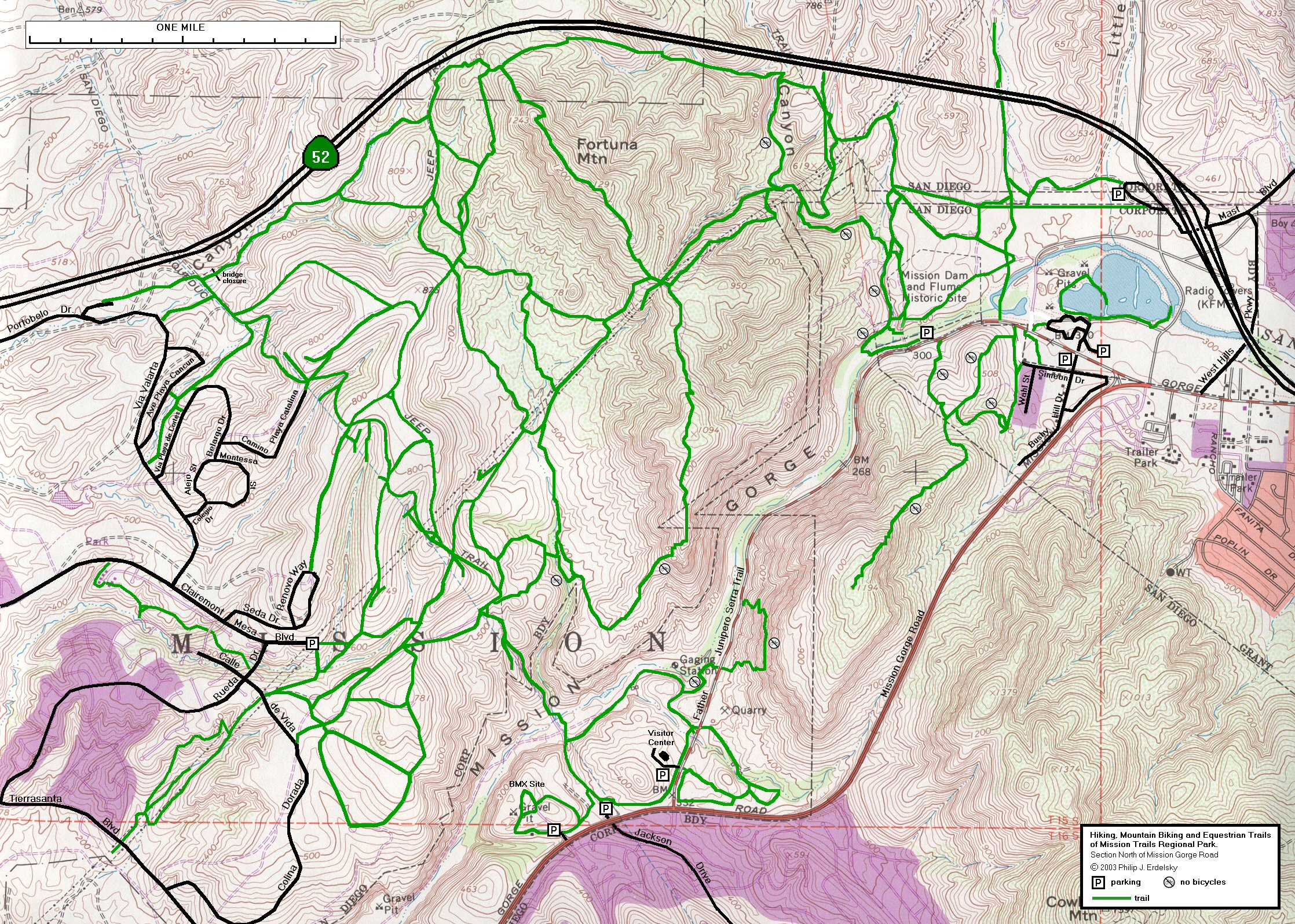Mission Trails Regional Park A Map Of The Trails In Part Of Mission Trails Regional Park Drawn To Scale And Superimposed Over A Topographic Map